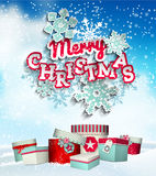 Colorful decorative text Merry Christmas on sky Stock Photo