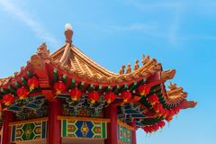 Colorfull decorative tower in chenese temple. Colorful decorative tower with spectacular roofs, ornate carvings and intricate embellishments in chinese temple Stock Images