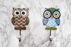 Colorful Decorative Wall Hook with Owl Shape on White Background Royalty Free Stock Photos