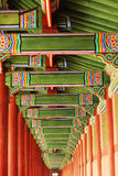 Colorful decorative wooden eaves royalty free stock images