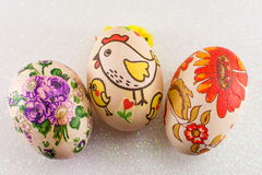 Colorful decoupage decorated Easter eggs Royalty Free Stock Photos