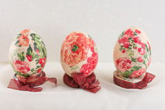 Colorful decoupage decorated Easter eggs Stock Photo