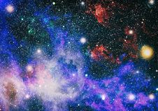 Fiery explosion in space. Abstract illustration of universe. Elements of this image furnished by NASA. Colorful deep space. Universe concept background. Elements Royalty Free Stock Photo