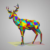 Colorful deer with horns. Vector illustration in polygonal style. Variegated forest animal on white background. Deer with horns low poly Stock Photography