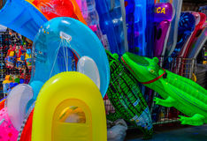 Colorful deflatable beach toys Royalty Free Stock Photography