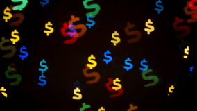 Colorful defocused blinking dollar sign bokeh festive lights as abstract background stock video footage