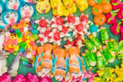 Colorful of deletable Imitation Fruits. Kanom Look Choup, A tr royalty free stock photography