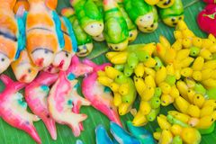 Colorful of deletable Imitation Fruits. Kanom Look Choup, A tr royalty free stock image
