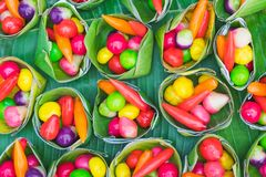 Colorful of deletable Imitation Fruits. Kanom Look Choup, A tr stock photo