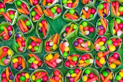 Colorful of deletable Imitation Fruits. Kanom Look Choup, A tr stock photos