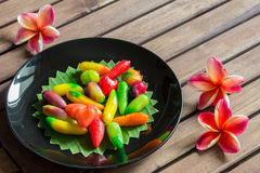 Colorful deletable imitation fruits on table Royalty Free Stock Photos