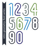Colorful delicate retro numbers set, vector digits Stock Photos
