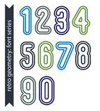 Colorful delicate retro numbers set, vector light classic digits Stock Photo