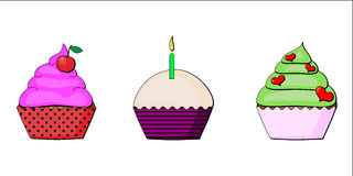 Colorful delicious cupcakes  illustration. S Royalty Free Stock Photography
