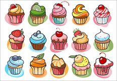 15 colorful delicious cupcakes. Vector illustration Royalty Free Stock Photo