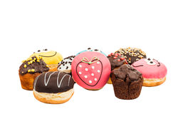 Colorful delicious donuts isolated Royalty Free Stock Photos