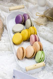 Colorful delicious french fresh macrons Royalty Free Stock Images