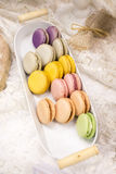 Colorful delicious french fresh macrons Stock Photo