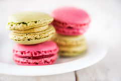 Colorful and delicious french macarons Stock Images