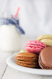 Colorful and delicious french macarons Royalty Free Stock Images