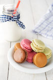 Colorful and delicious french macarons Stock Photos