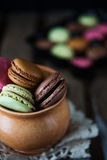 Colorful and delicious french macarons Stock Photo