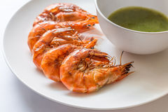 Colorful delicious grilled shrimp with spicy seafood sauce,  Clo Stock Image