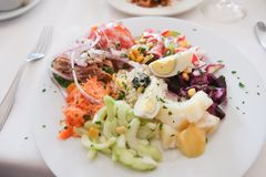 Colorful and delicious Moroccan Healthy salad. Essaouira, Morocco. stock images