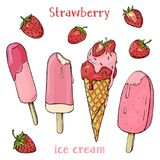 Colorful delicious strawberry ice cream and strawberries. Ice cream melts in the summer heat. Stylish, colorful set on white background. Vector illustration in Stock Images