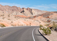Colorful desert road, Lake Mead, Nevada Stock Photos
