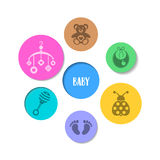 Colorful design with baby icons. Cute colorful design with baby icons in circles Stock Photos
