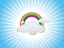 Colorful design with clouds and rainbows Stock Photos