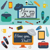 Colorful Design Collection. Happy fathers day Stock Photography