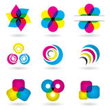Colorful Design Elements. Set of 9 design elements. CMYK EPS 8 vector illustration with global colors Stock Photos