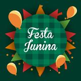 Festa Junina design. Colorful design of Festa junina with balloons around over green background, vector illustration Royalty Free Stock Images