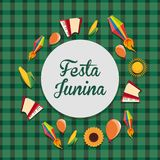 Festa Junina design. Colorful design of Festa junina with related icons around over green background, vector illustration Stock Photos