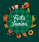 Festa Junina design. Colorful design of Festa junina with related icons around over green background, vector illustration Royalty Free Stock Photos
