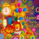 Colorful design of Happy New Year greeting Stock Image