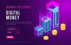 Webpage design with cryptocurrency elements. Colorful design in isometry of webpage about digital money and authorization service on resource Royalty Free Stock Images