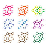 Colorful design molecule logo element. Royalty Free Stock Photo