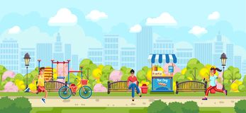 Colorful design of people running in park stock illustration