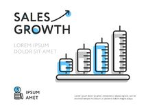 Colorful design for sales uplift. Creative flat design of sales growth representing in minimalist charts showing increase Stock Image