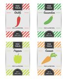 Colorful design set of vegetable labels. Stock Photo
