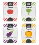 Colorful design of vegetable labels set. Stock Photos