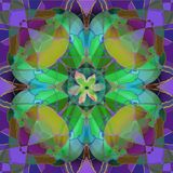 TIFFANY PURPLE, GOLD AND GREEN FLOWER IN AN ABSTRACT BACKGROUND, WITH A CENTRAL FLOWER stock illustration