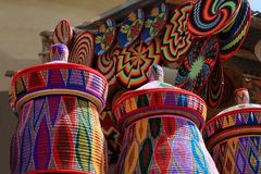 African Craft Market, Axum, East Africa. Colorful designs in beautiful handcrafted products, produced in the city of Axum. Ethiopia, East Africa royalty free stock photography