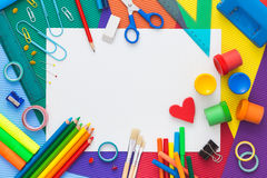 Colorful desk with school supplies. Top view. Royalty Free Stock Photos