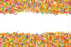 Colorful dessert border. On white background Stock Photos