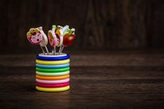 Colorful Dessert Forks with Colorful Trinket Handles in Colorful Royalty Free Stock Photography