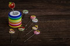 Colorful Dessert Forks with Colorful Trinket Handles in Colorful Stock Photos